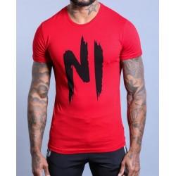 NI TS01 T-SHIRT ROUGE/NOIR